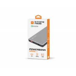 POWER BANK EXTREME MEDIA 10000MAH SZARY QUICKCHARGE 3.0