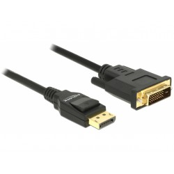 KABEL DISPLAYPORT(M) V1.2A- DVI-D(M)(24+1) 1M CZARNY SINGLE LINK DELOCK