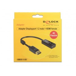 ADAPTER DISPLAYPORT 1.2- HDMI PASYWNY 4K BLACK