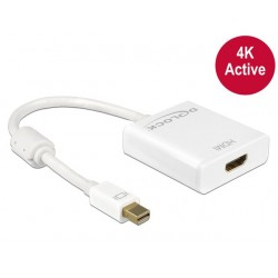 ADAPTER DISPLAYPORT MINI(M) 1.2- HDMI(F) 4K AKTYWNY WHITE DELOCK