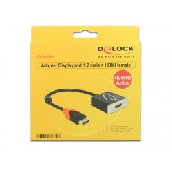 ADAPTER DISPLAYPORT 1.2 (M)- HDMI(F) 4K 60HZ AKTYWNY DELOCK