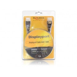 KABEL DISPLAYPORT M/M 20 PIN V1.2 1M 4K ANTRACYT PREMIUM DELOCK