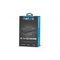 HUB USB 3.0 NATEC SILKWORM 4-PORTY CZARNY USB-C