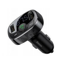 BASEUS Ładowarka,Transmiter FM, MP3 BT, 2 X USB (CCTM-01) Black