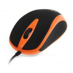 PLANO - Myszka optyczna 800 cpi, 3 przyciski + rolka, interfejs USB, gumowana obudowa kolor pomarańczowy